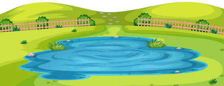 Pond in foreground of park in nature illustration