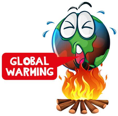 Global warming with earth on fire illustration Ilustração