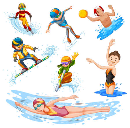 Different types of sports on white background illustration