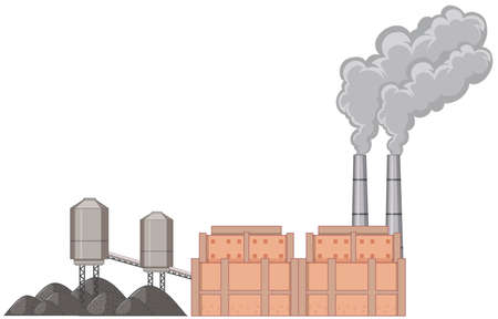Factory building with smoke illustration Ilustracja
