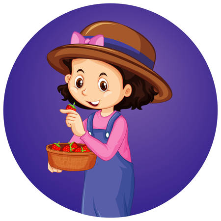 Girl with strawberries on round background illustration Illustration
