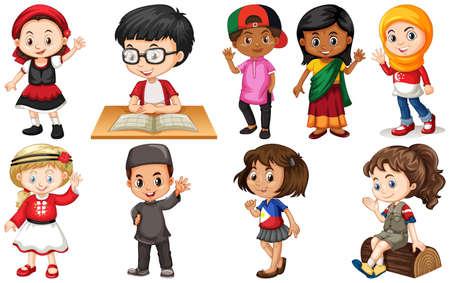 Set di bambini provenienti da diversi paesi illustrazione