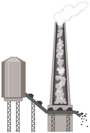 Factory with coal energy illustration Ilustracja