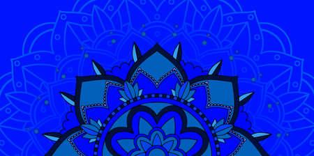 Background pattern of mandala in blue illustration Illusztráció