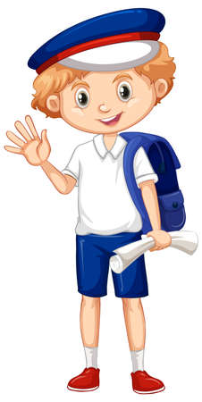 One happy boy with blue backpack illustration