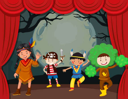 Halloween-Thema mit Kindern im Kostüm auf der Bühnenillustration