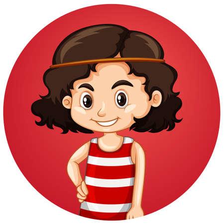 Cute girl on round background illustration
