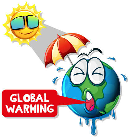 Global warming with hot sun and earth illustration
