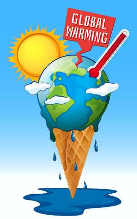 Global warming with earth and hot sun illustration Ilustração