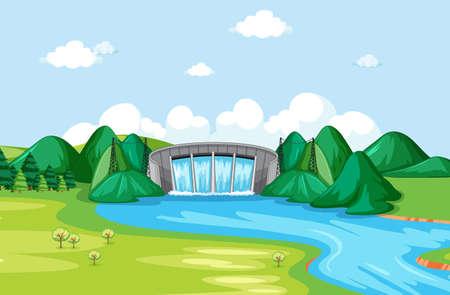 Diagram showing hydroelectric energy illustration Illusztráció