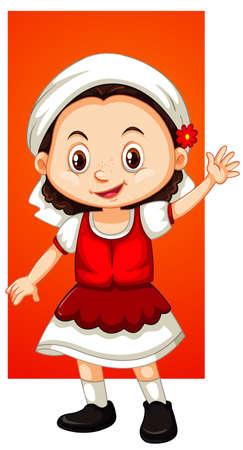 Happy girl waving hand illustration