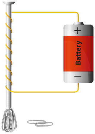 Diagram showing how power works with battery illustration