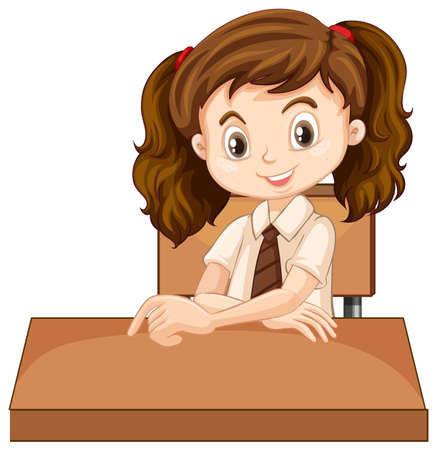 One happy girl sitting on the desk illustration Illusztráció