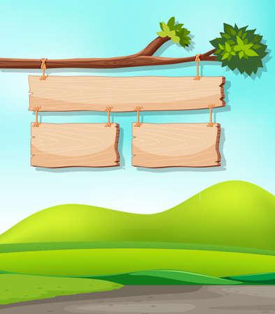 Wooden signs on branch with nature background illustration Illusztráció