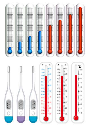 Thermometers on different scales illustration