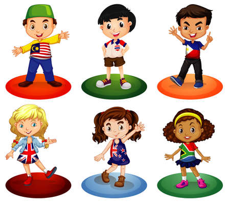 Kids from different countries of the world illustration