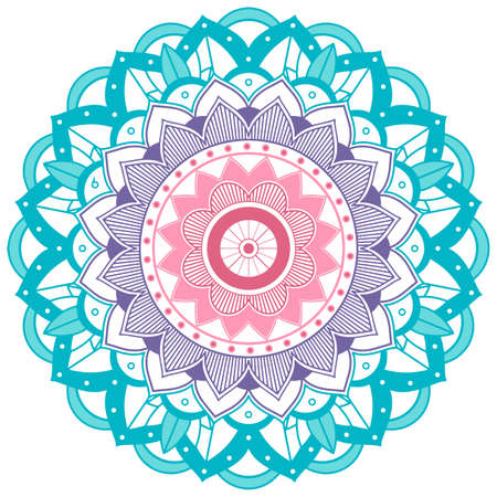 Mandala pattern design in blue and purple illustration