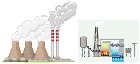 Factory chimney produces smoke illustration