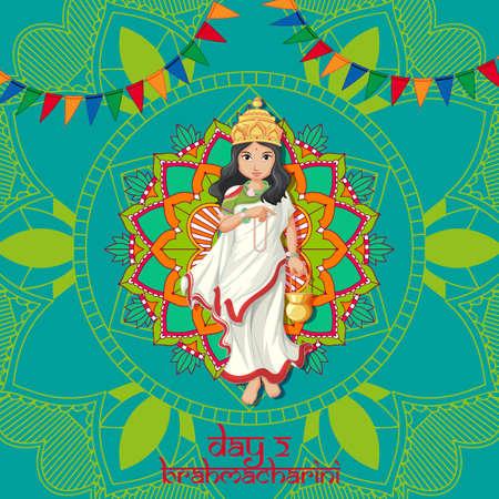 Navaratri poster design with goddess and mandala illustration