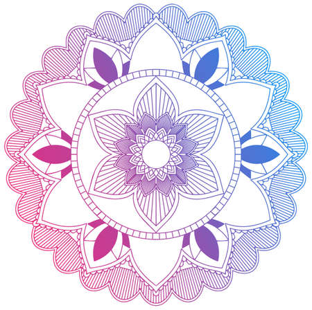 Mandala pattern design in red and blue illustration Illusztráció