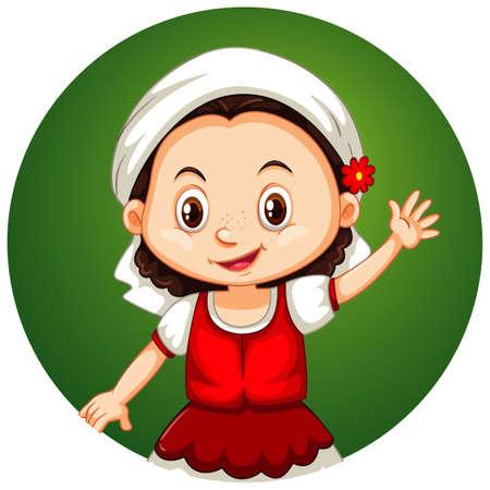 Happy girl on round background illustration