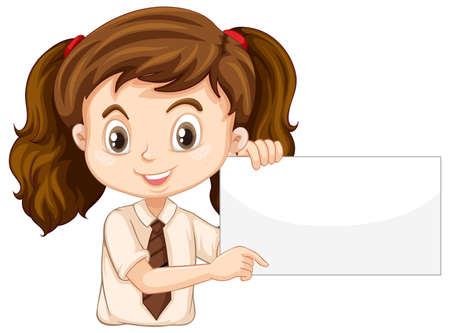 One happy girl with blank board illustration Illusztráció