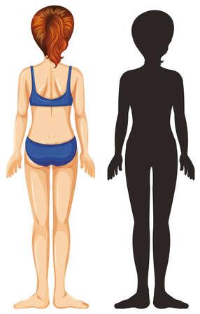 Back of female human on white background illustration