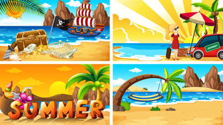 Four background scenes with summer on the beach illustration 向量圖像