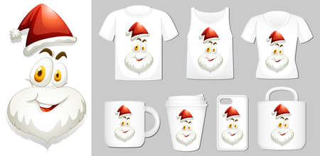 Graphic of Santa on different product templates illustration