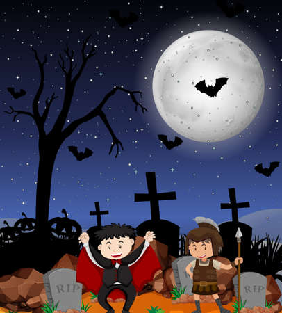 Halloween theme with kids in costume illustration