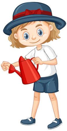 One happy girl with watering can illustration Illusztráció