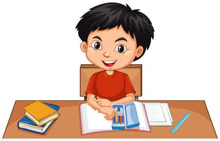 Un niño feliz haciendo los deberes en la ilustración de escritorio Ilustración de vector