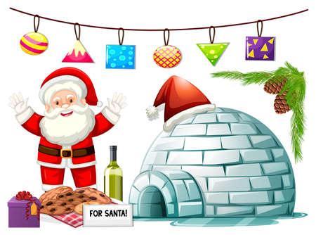 Santa Claus and cookies at igloo illustration