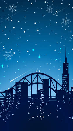 Background scene with city at night illustration