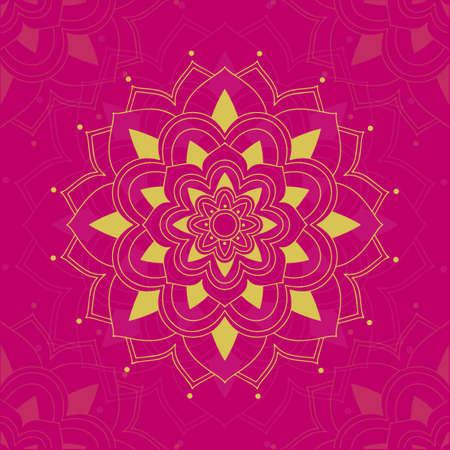 Mandala pattern on pink background illustration
