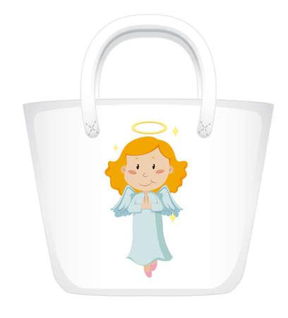 Handbag design with angel graphic in front illustration