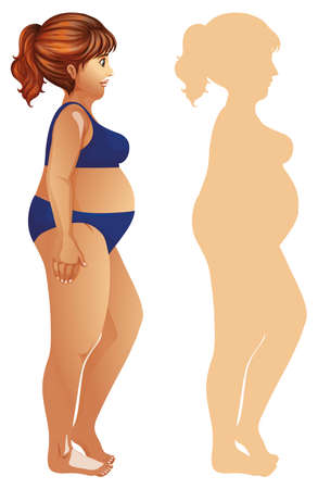 Overweight woman with silhouette illustration
