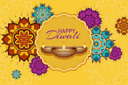Poster design for happy diwali festival illustration Illusztráció