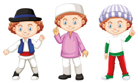 Boy with happy face in different costumes illustration