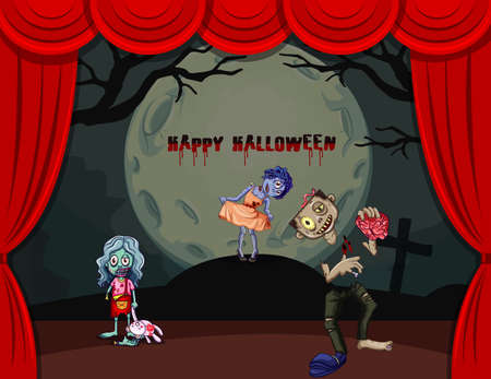 Halloween theme with zombies on stage illustration