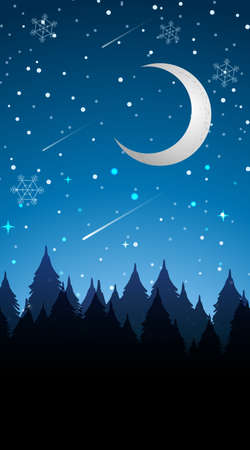 Scene with moon in winter  illustration Imagens - 134521777
