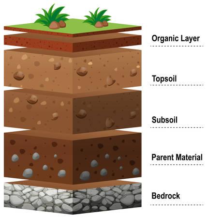 Différentes couches de sol sur terre illustration Vecteurs