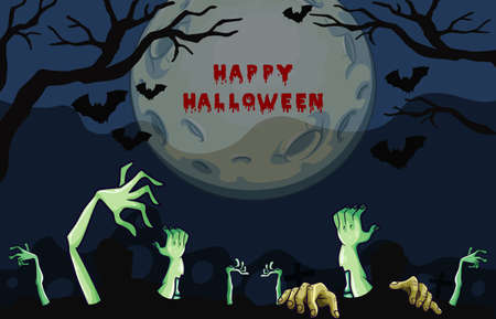 Halloween night poster design with zombie hands illustration