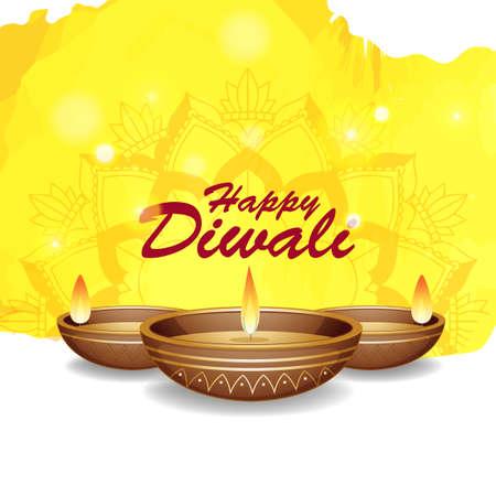 Background with mandala pantern for happy diwali festival illustration