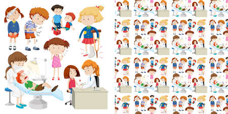 Seamless background design with kids in hospital illustration