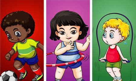 Tres niños haciendo diferentes deportes ilustración.