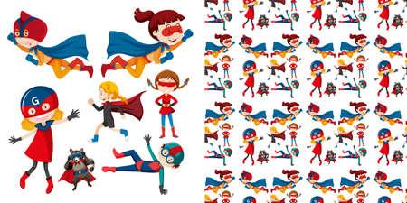 Set of seamless background design with isolated objects theme - superhero illustration Ilustração