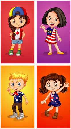 Four kids from different places illustration