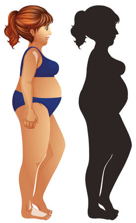 Overweight woman and silhouette body illustration