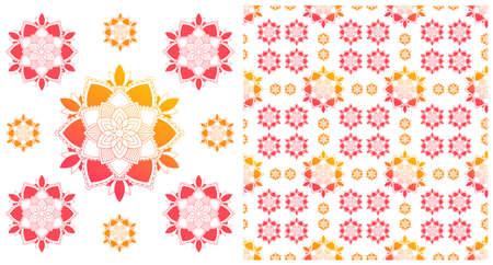 Seamless design with colorful mandalas pattern illustration Ilustração